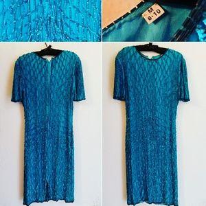 Vintage Beads on Silk Dress